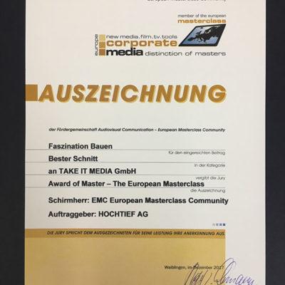 Wettbewerb Corporate Media - Bester Schnitt