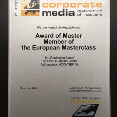 Wettbewerb Corporate Media - Award of Master